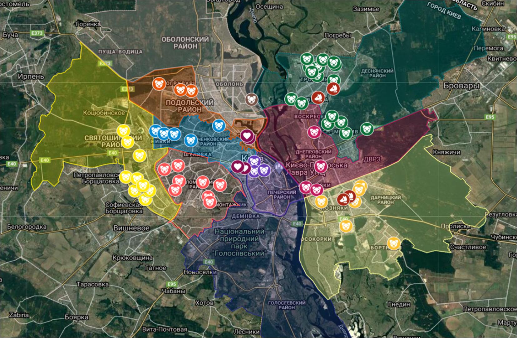 Карта для выгула собак. Фото: скрин с сайта http://kyivibes.org/dogs